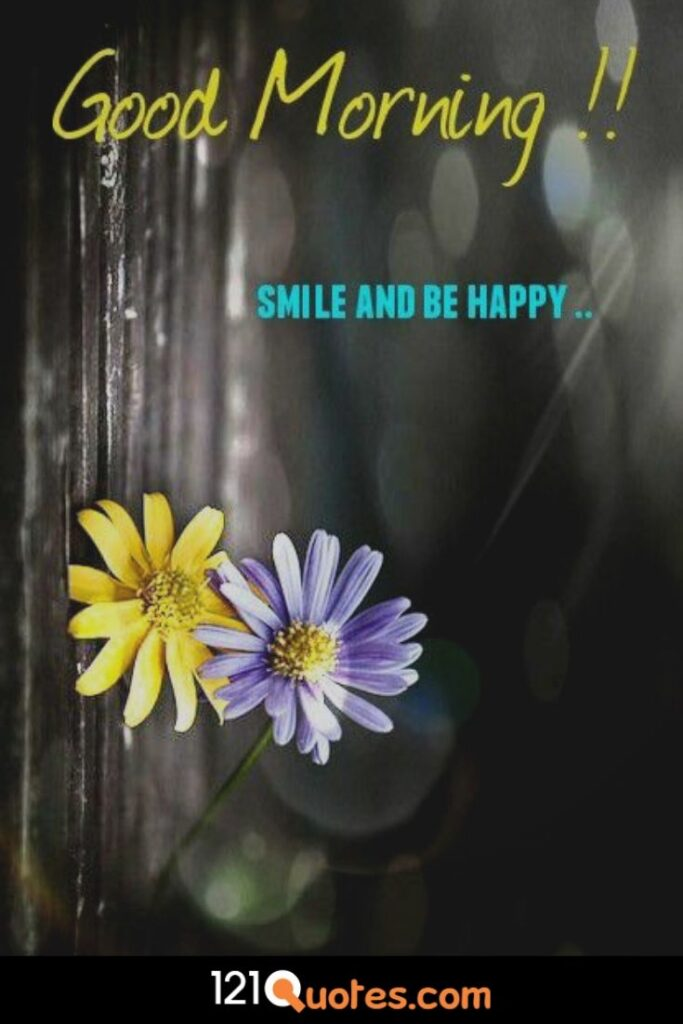 Good Morning Smile and Happy Wallpaper with Yellow and Blue Sun Flower
