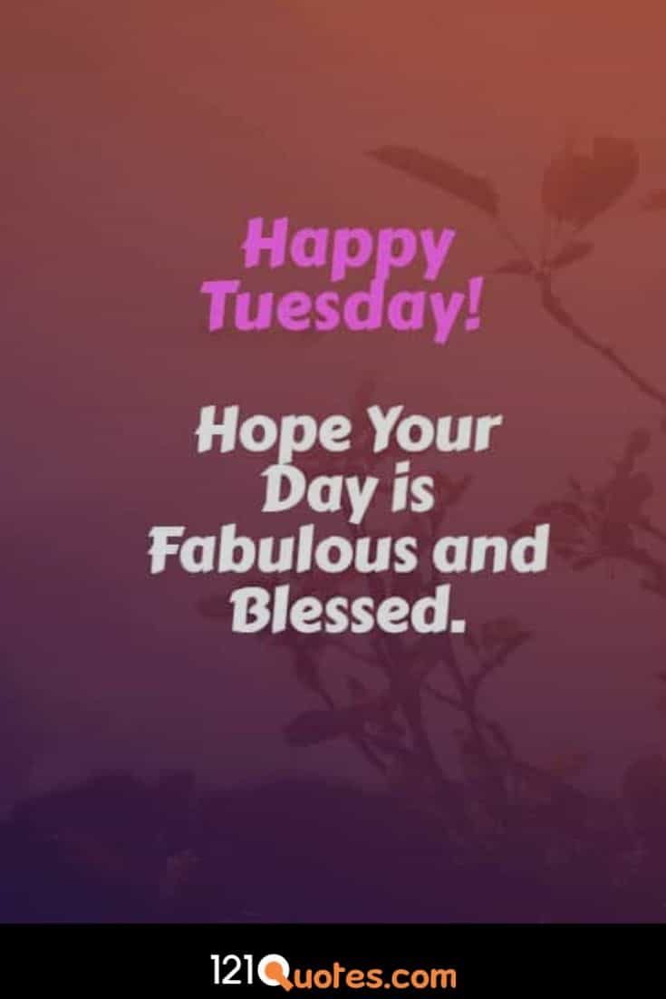 Happy Tuesday Hope Your day is Fabulous and Blessed