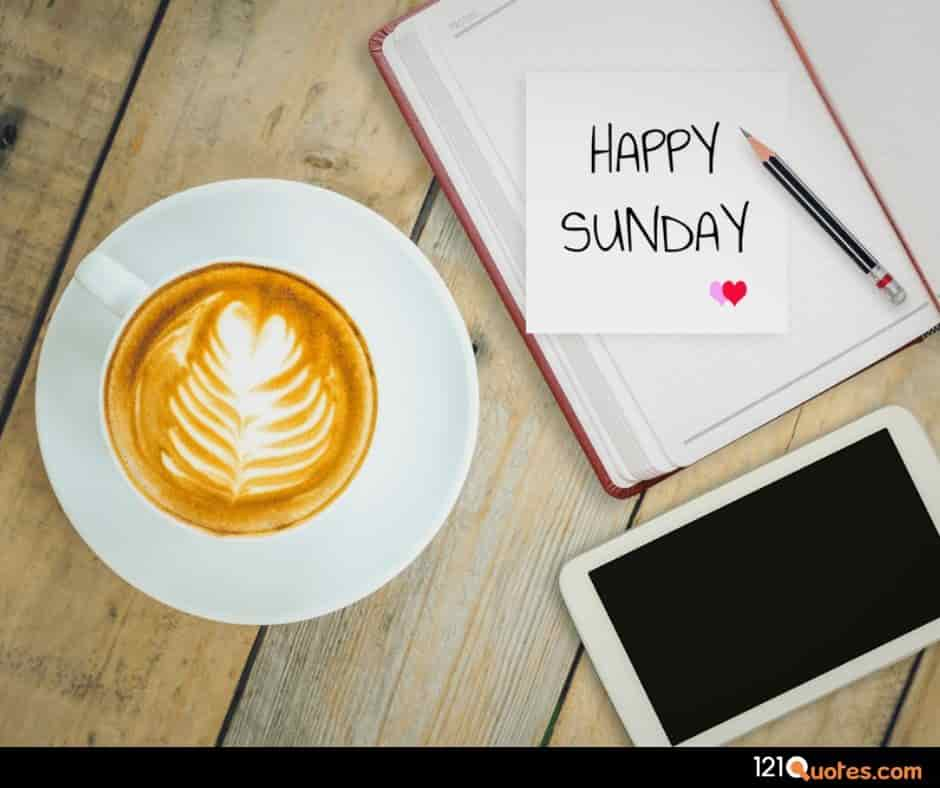 happy sunday wallpaper with cup of coffe