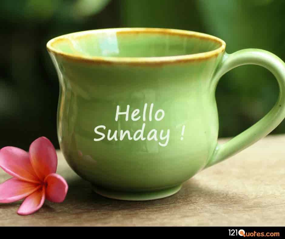 hello sunday images with greeen cup of tea and pink flower