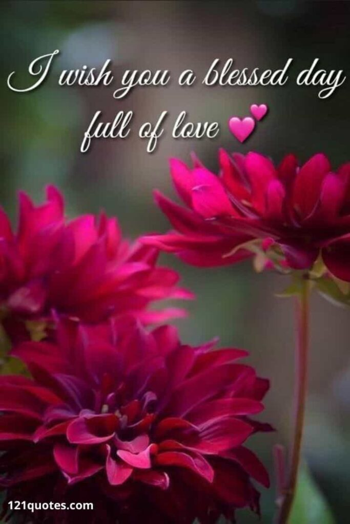 I wish you a blessed day full of love